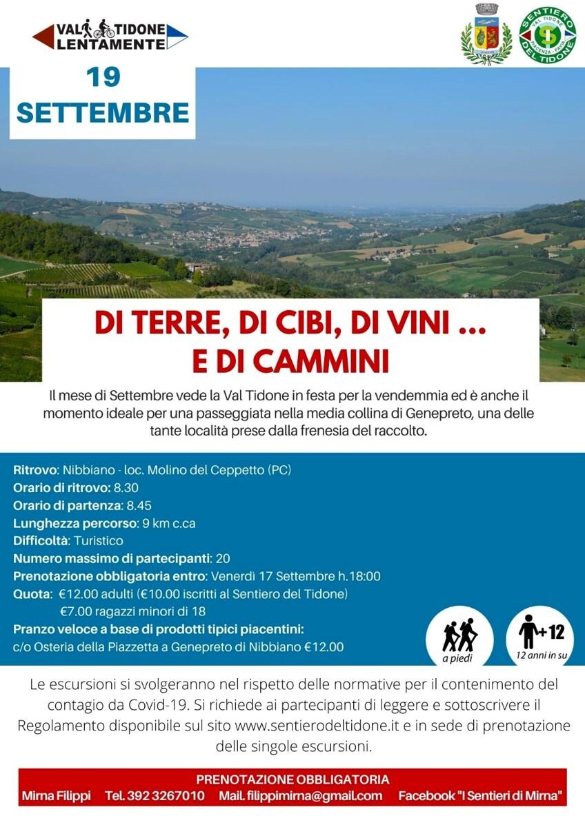 "Val Tidone Lentamente, ""Di Terre, Di Cibi, Di Vini ...e Di Cammini"""